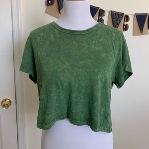 Urban Outfitters Green Cropped Tee